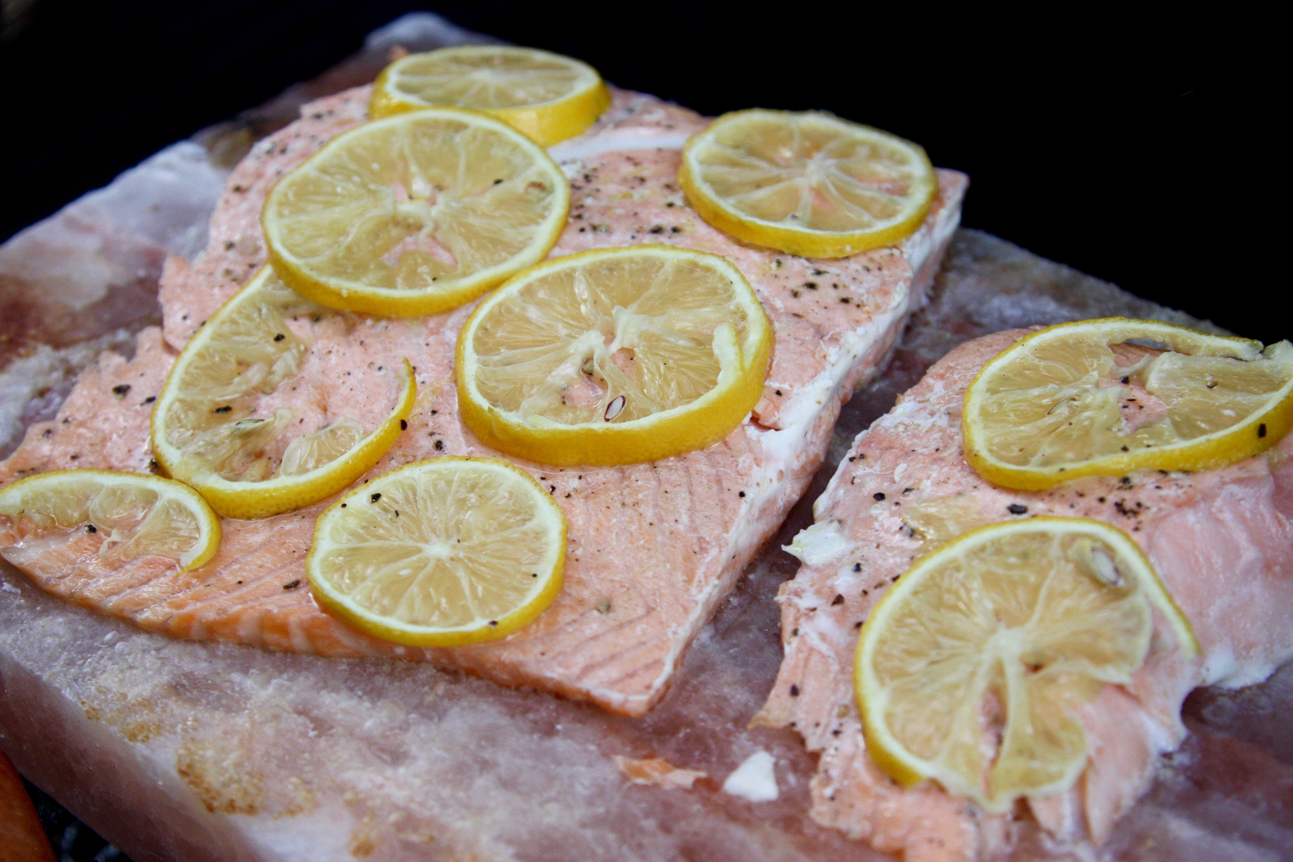 Himalayan salt block salmon with lemon good thyme kitchen for Cooking fish on a salt block