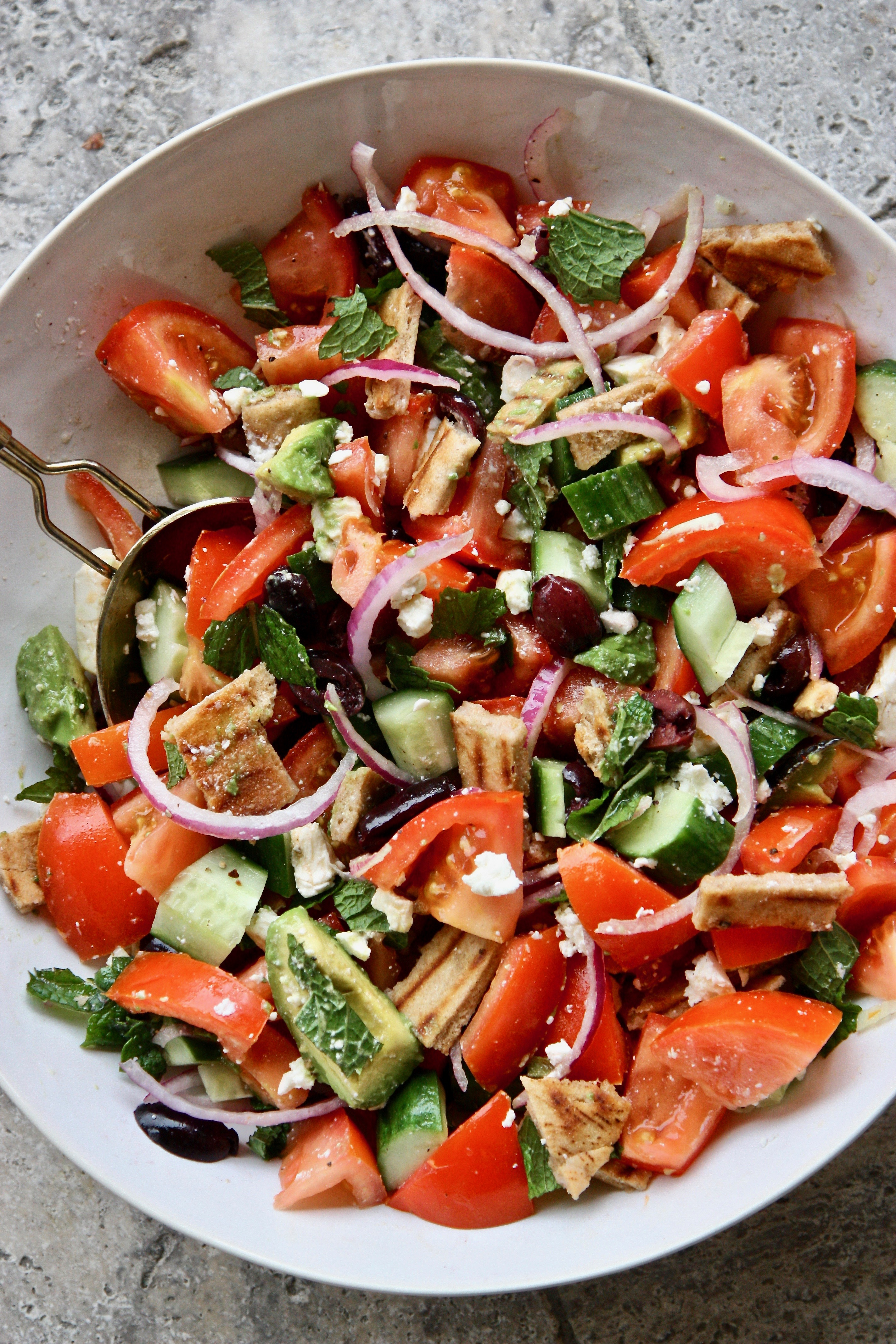 MEDITERRANEAN GRILLED PITA SALAD GOOD THYME KITCHEN